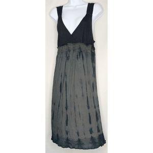 Calvin Klein jeans black gray tie dye dress boho L
